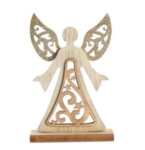 JUST IN | Wooden Glitter Standing Angel - LX Crafts Co