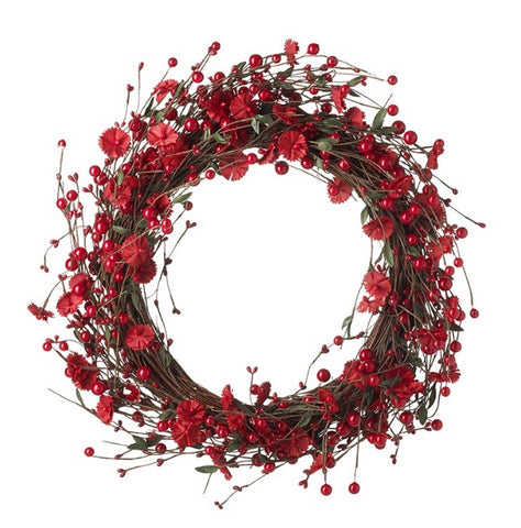 Red Flower Wreath - LX Crafts Co