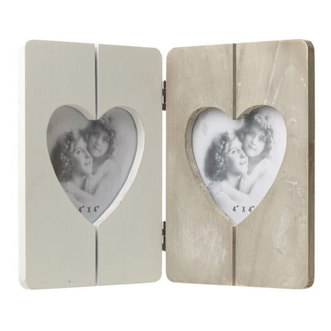 Wooden Double Heart Photo Frame - LX Crafts Co