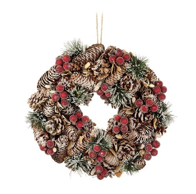 Rattan Pine Cone & Berry Wreath - LX Crafts Co