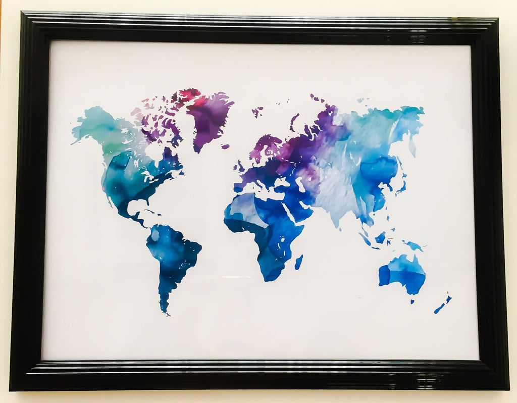 Watercolor world map art prints paintings lx crafts co watercolor world map lx crafts co gumiabroncs Images