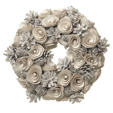 White Pinecone Wreath - LX Crafts Co
