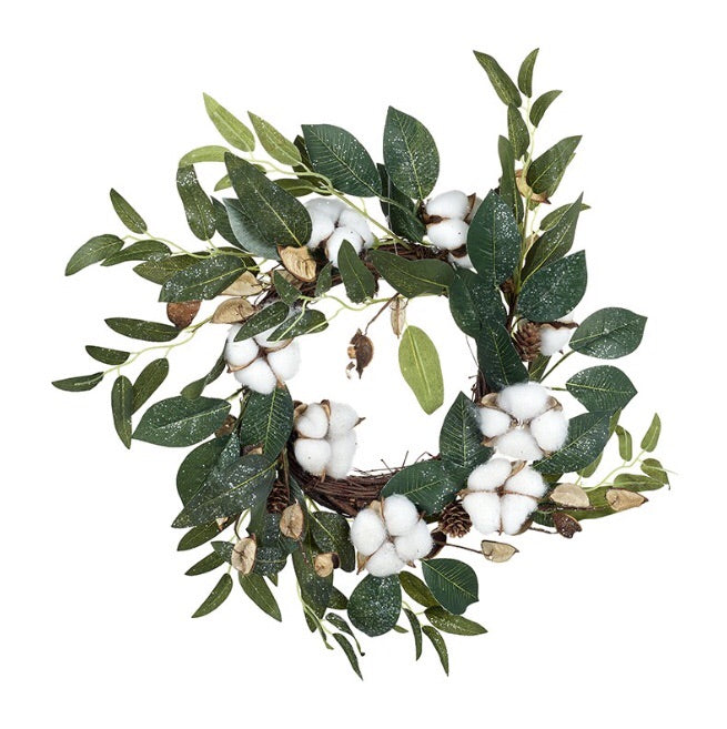 JUST IN | Green Leaf and White Cotton Wreath - LX Crafts Co