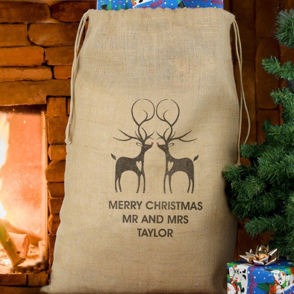 Reindeer Couple Hessian Sack - Latest Trendz Novelty Gifts And Gadgets