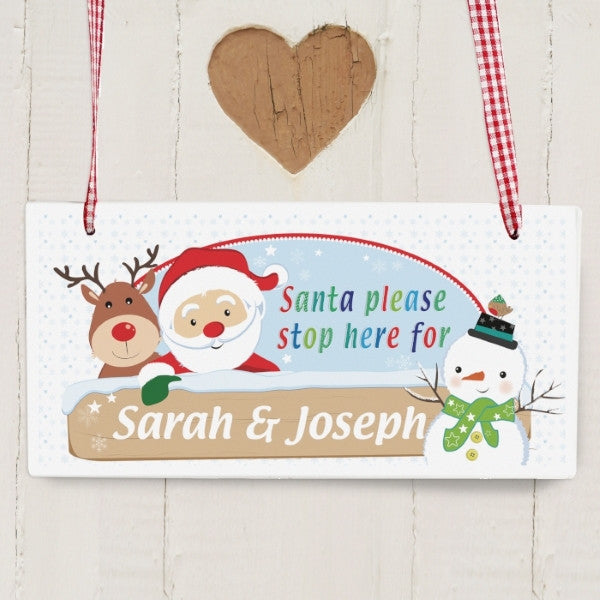 Personalised Santa & Friends Stop Here Wooden Sign - Latest Trendz Novelty Gifts And Gadgets