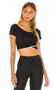 BEYOND YOGA TANK Crossed For Words Reversible Cropped Top - Jet Black