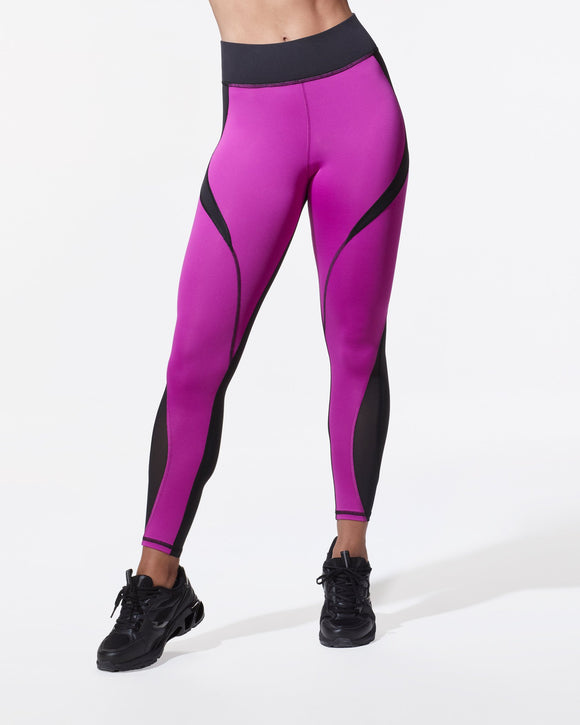 MICHI LEGGING FLARE BLACK MAGENTA