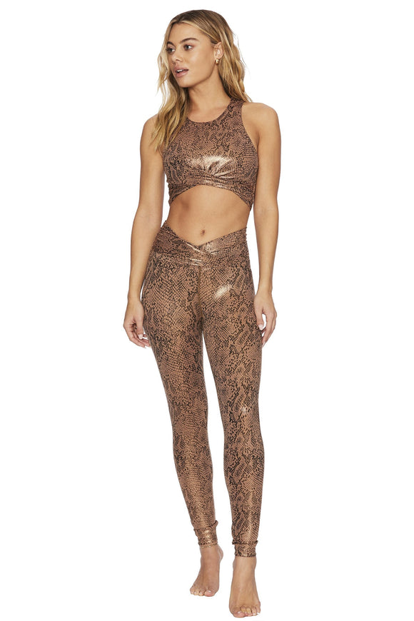 BEACH RIOT LEGGING TWIST SHINE ROSE GOLD SNAKESKIN