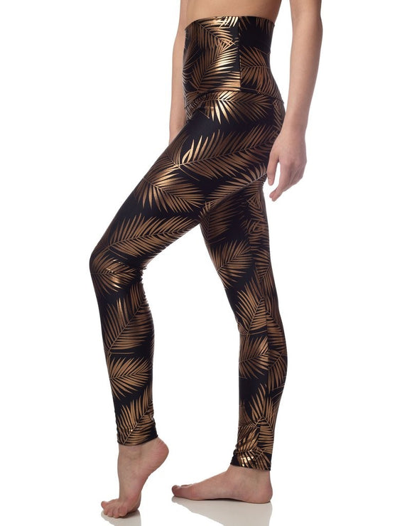 EMILY HSU LEGGING PALM FOIL GOLD