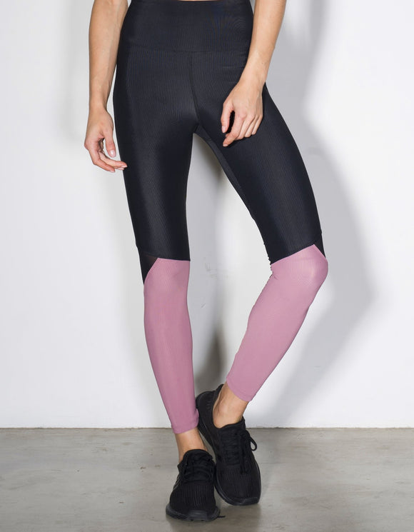 HEROINE LEGGING APEX [ CHROME BLUSH RIB / BLACK RIB ]