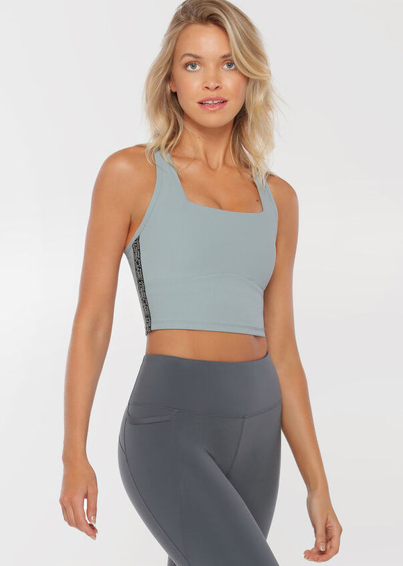 LORNA JANE TOP Willpower Cropped Tank - MIRROR BLUE