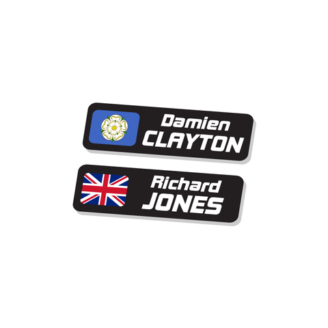 Rider Name & Flag Stickers | 10 Pairs