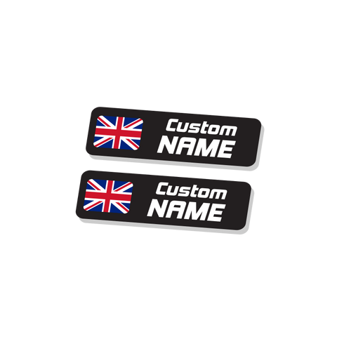 Name & Flag Stickers | 10 Pairs