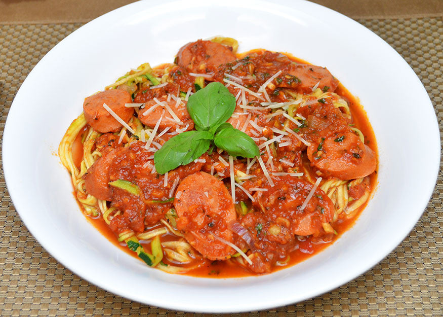 Smoked Sausage Zucchini Noodle In Tomato Sauce