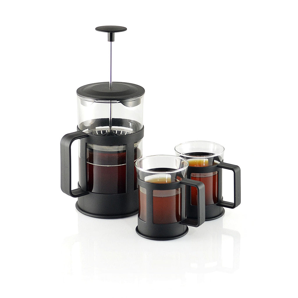 French Press Set For Coffee And Tea (Black)