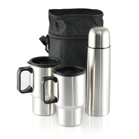 Stainless Steel Vacuum Flask and Travel Mugs Set