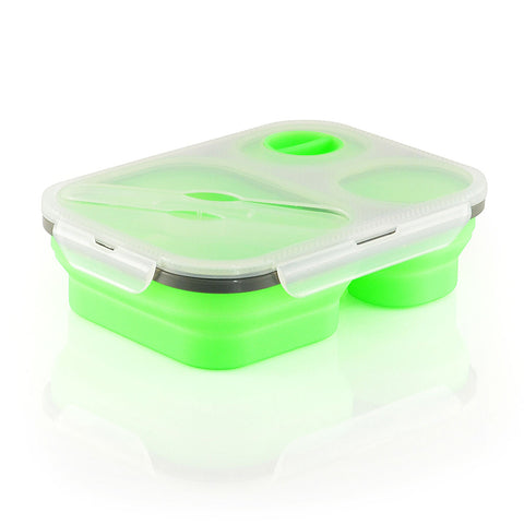 Collapsible Silicone Lunch Box With 3 Compartments
