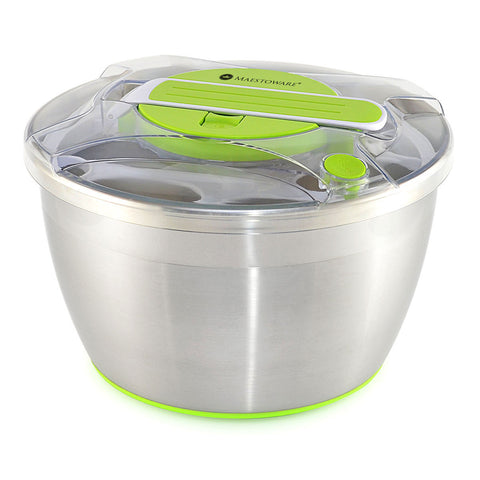 Maestoware Stainless Steel Salad Spinner Large 6.8-Quart