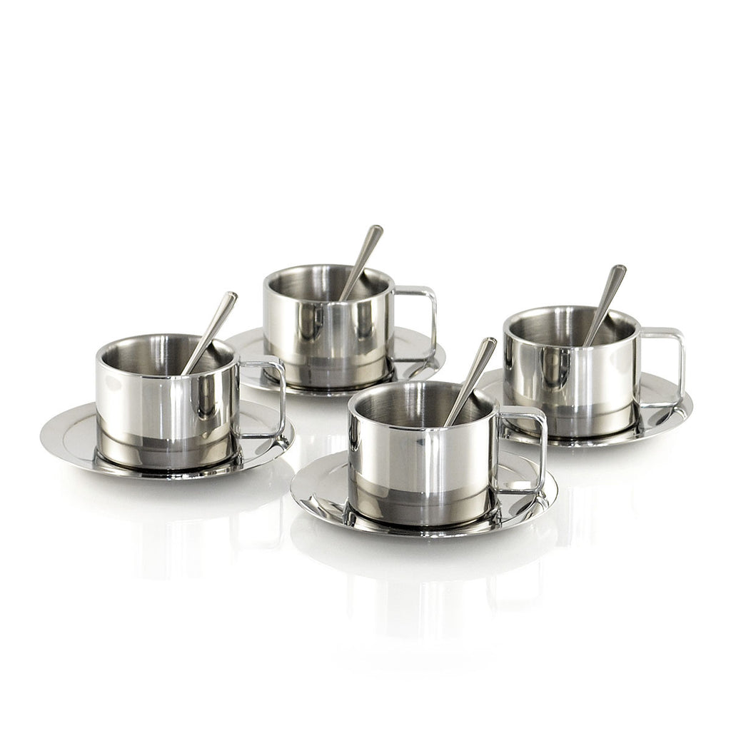 Maestoware Double Wall Stainless Steel Coffee & Tea Cup (Set of 4)