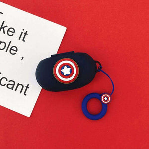 Captain America Silicone Cover for  Galaxy Buds/Buds+ Plus with finger ring