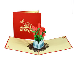 Handmade 3D Pop-up Rose Bouquet Greeting Card