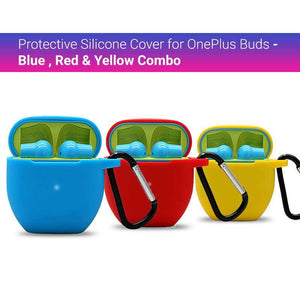 Protective Silicone Cover for OnePlus Buds - Blue ,Red  & Yellow Combo (Cover Only)