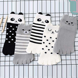 Cute Comic Panda Five Fingers Toe Socks(Set of 5 Pairs)