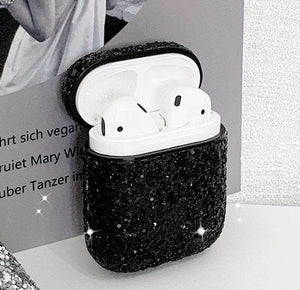 Black Glitter Cover For Apple Airpods(Cover Only)