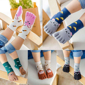 Cute Comic Animal Five Fingers Toe Socks(Set of 5 Pairs)