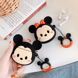 Mickey and  Minnie Mouse Silicone Cover For Apple Airpods(Pack of 2 Covers)
