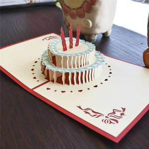 Handmade 3D Pop-up Vanilla Birthday Cake Greeting Card