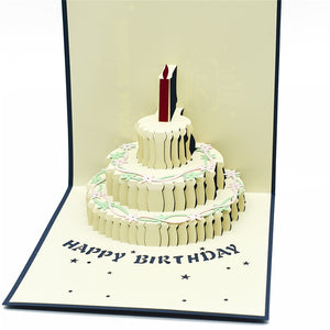 Handmade 3D Pop-up Semi Open Birthday Cake Greeting Card