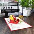 Heropantee:Handmade 3D Pop-up Santa Riding Greeting Card