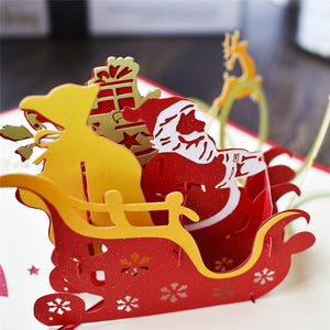 Handmade 3D Pop-up Santa Riding Greeting Card