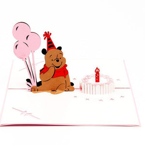 Handmade 3D Winnie The Pooh Pop-up Birthday Greeting Card