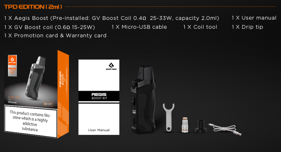 Aegis Boost Pod Kit box contents with pictures