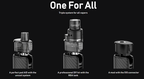 Image showing the optional Origin X accessories fitting onto the pod kit.