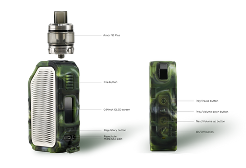 wismec active kit with button labels for device and speaker