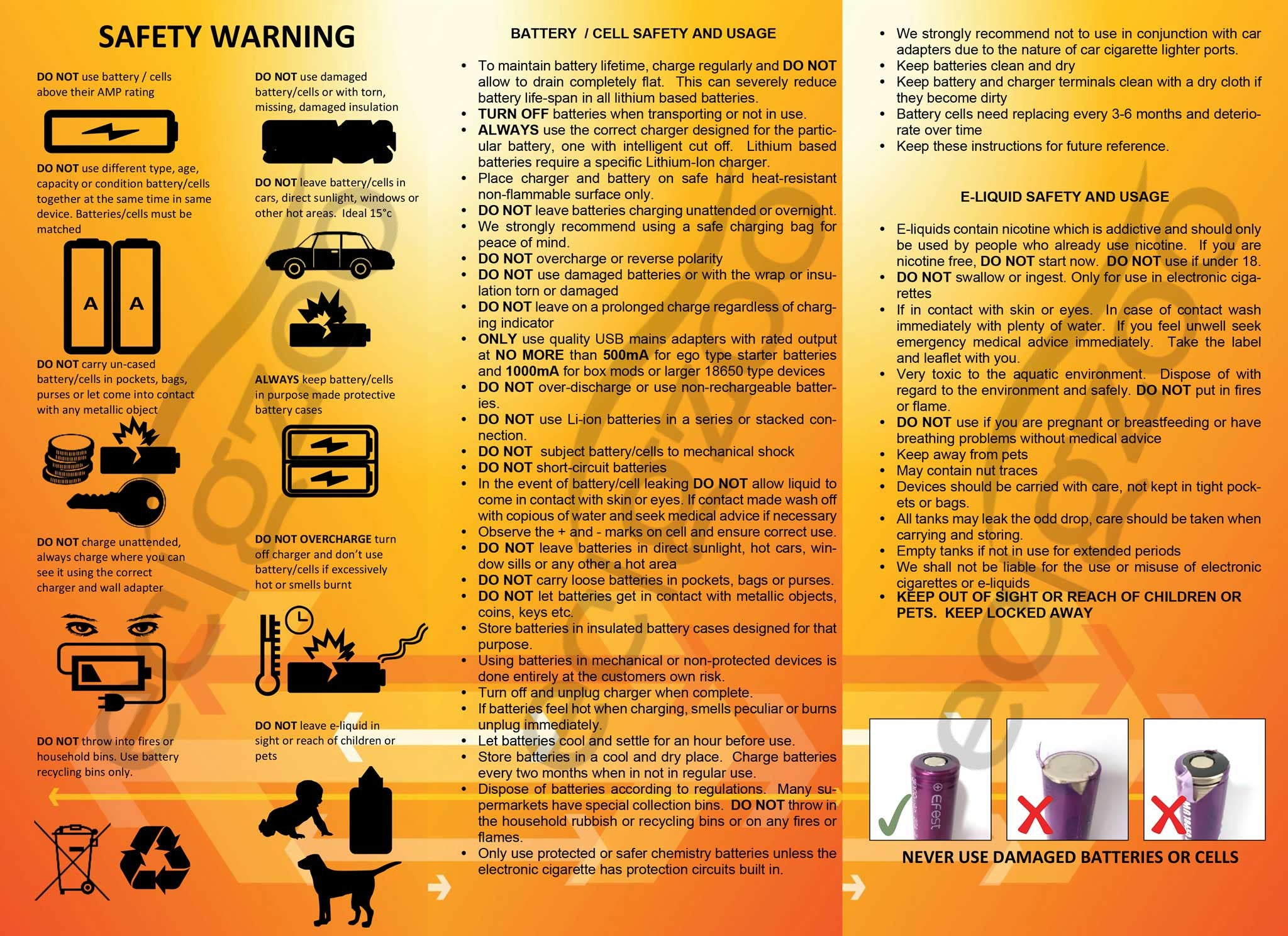 E-cig Battery Cell Safety Guidlines