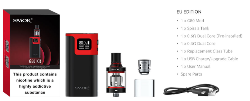 Smok G80 Kit contents