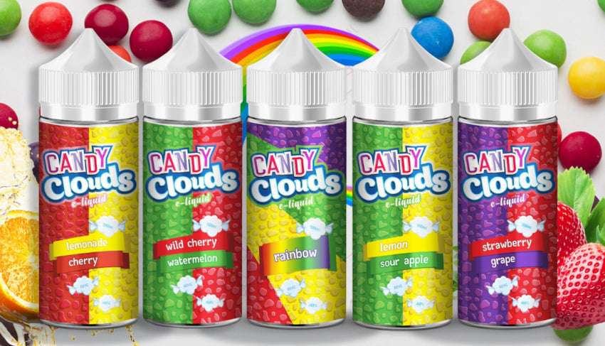 Picture of 5 Candy Clouds E-liquid bottles on a colourful background