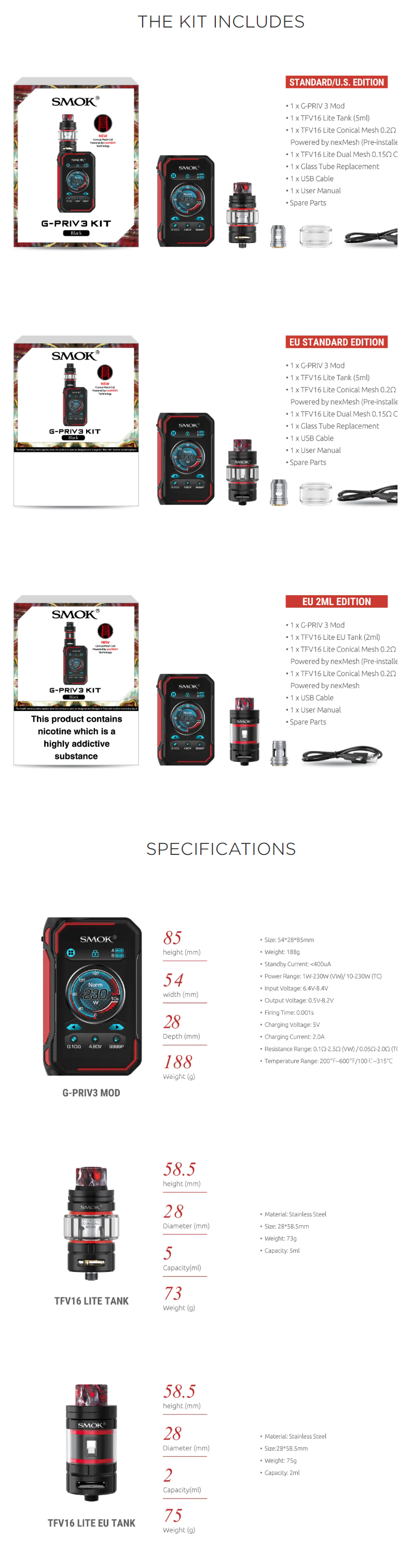 Smok G-Priv 3 Kit box contents and specifications