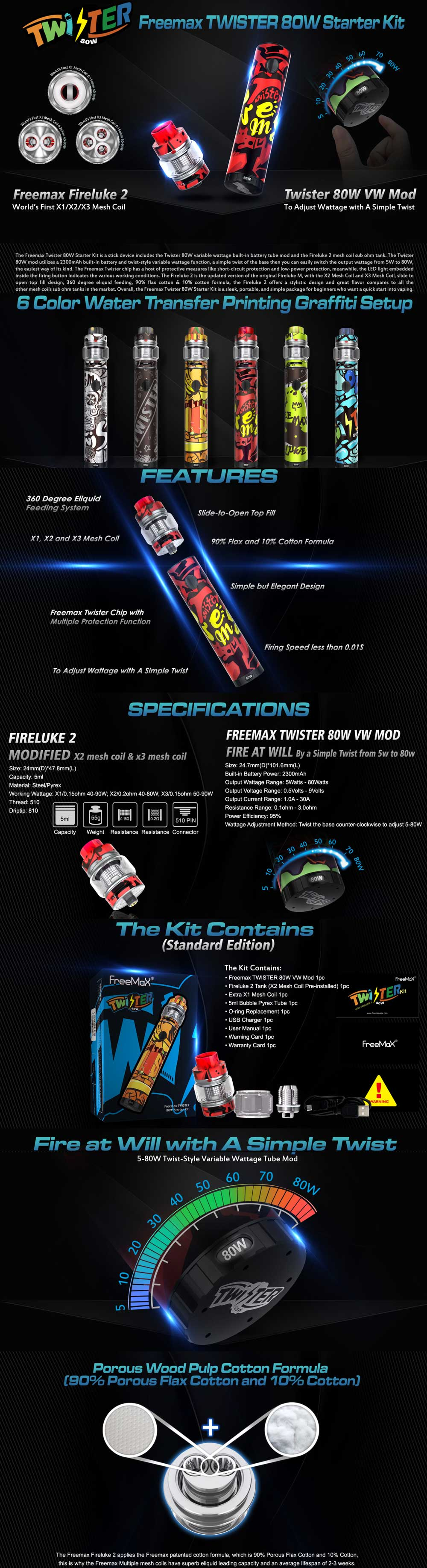Freemax Twister Kit with full descriptions and diagrams