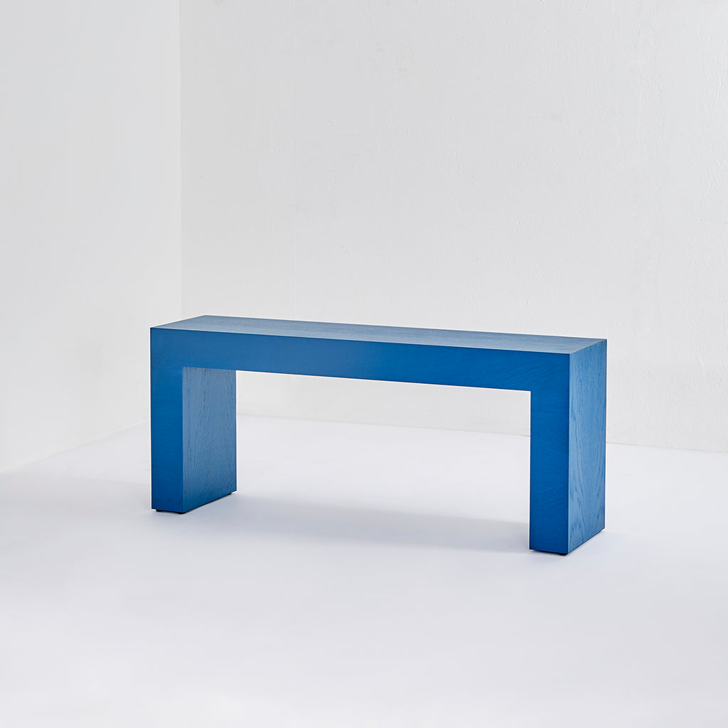 Darkroom Stained Wood Colourful Geometric Angular Furniture BLOK Bench Console Side Table