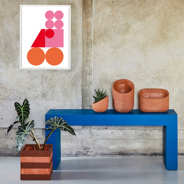 GEO BIRDY WALL PRINT — PINK/ORANGE