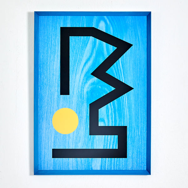 RUNES PRINT WITH FRAME — BLUE