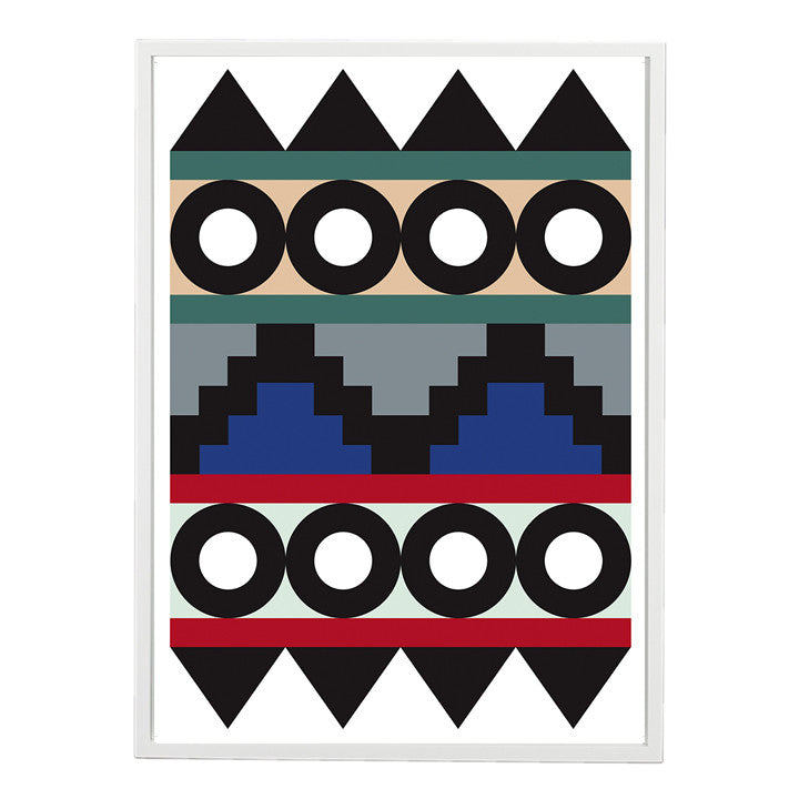 A1 Darkroom Aztec Art Print Green Nude Blue Red Bold Design Signed By Rhonda Drakeford