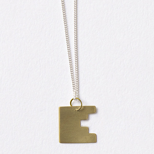 Darkroom Geometric Jewellery Bauhaus Alphabet Pendants Gold Silver Handmade in London
