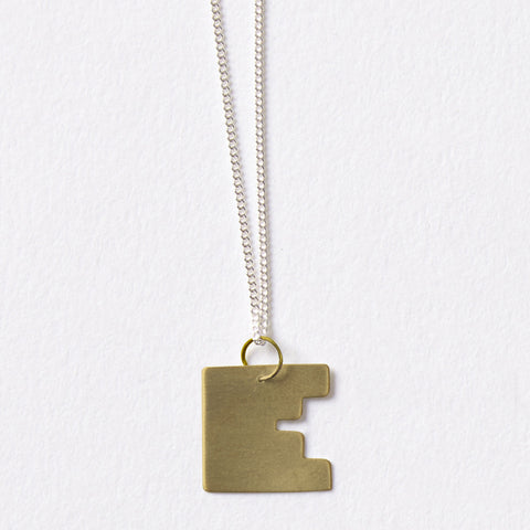 Darkroom Geometric Jewellery Bauhaus Alphabet Pendants Chain Gold Silver Handmade in London