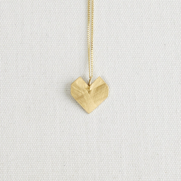 Darkroom Bauhaus 9kt gold Heart Pendant Necklace Handmade in London